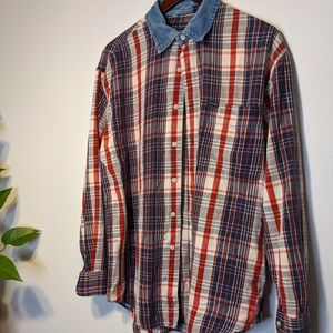 GUESS JEANS Men's Size Large Button Down Shirt Pla